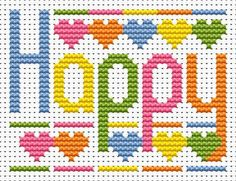 Sew Simple Happy Word cross stitch kit