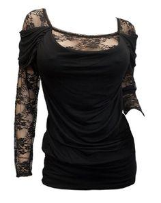 Plus size Floral Lace Sleeve Top Black