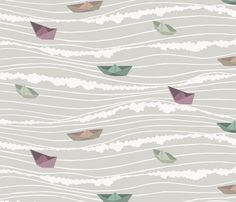 paper boats fabric by troismiettes on Spoonflower - custom fabric