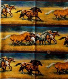 Wild And Free Fabric Horses Running Border Stripe Northcott Premium Cotton  #Northcott