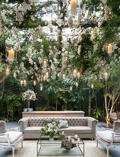 Elegant wedding ideas to wow your guests---elegant and classy wedding decorations of lush hanging white flowers and galss candles for outdoor wedding lounge in the garden. garden wedding 13 Ways to Hold Elegant Weddings Wedding Lounge, Wedding Ceremony, Wedding Venues, Dream Wedding, Marquee Wedding, Wedding Beach, Luxury Wedding, Wedding Cakes, Romantic Wedding Decor