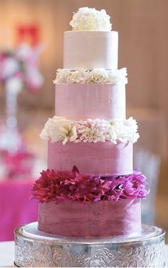 Pink ombre wedding cake  we ❤ this!  moncheribridals.com #weddingcake