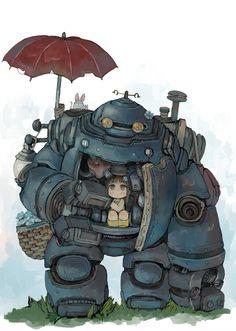 「少女とロボット」/「エビ桃」のイラスト [pixiv]