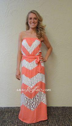 coral and white chevron maxi dress
