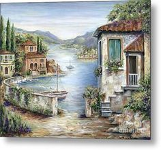 Tuscan Villas By The Lake Metal Print by Marilyn Dunlap