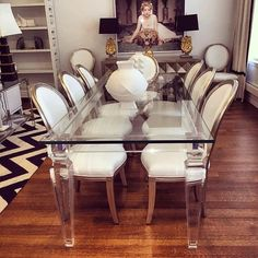 Paris Hilton's Dining Room Remodel featuring a custom Palm Beach Dining Table and custom Louis Dining Chairs by ModShop!