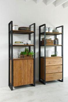 d-Bodhi Fendy Boekenkast - Lilly is Love Teak Furniture, Retro Furniture, Recycled Furniture, Home Living Room, Living Room Furniture, Living Room Cupboards, Metal Shelves, Ladder Decor, Bookcase
