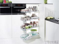 LeMans Highboard — Clever Storage by Kesseböhmer Blind Corner Cabinet, Inside Cabinets, Kitchen Cart, Kitchen Ideas, Cabinet Hardware, Storage Solutions, Storage Ideas, Kitchen Organization, Declutter
