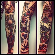 American Traditional Tattoo Sleeve, Old School Tattoo Arm 4 Tattoo, Tattoo Blog, Body Art Tattoos, New Tattoos, Tatoos, American Traditional Sleeve, Neo Traditional Tattoo, Traditional Tattoo Sleeves, Tattoo Sleeve Designs