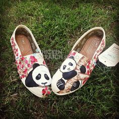 panda and cherry blossoms custom toms **BIRTHDAY WISH LIST!**