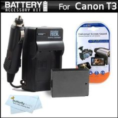 """Battery And Charger Kit For Canon EOS Rebel T3 Digital SLR Camera Includes Extended (1500mAh) Replacement LP-E10 Battery + Ac/ Dc Rapid Travel Charger + LCD Screeen Protectors + ButterflyPhoto MicroFiber Cleaning Cloth by ButterflyPhoto. $19.95. Product DescriptionKit Includes:♦ 1) Vidpro - Hi-Capacity 1500mAh Lithium Ion Battery For Canon T3 SLR - LP-E10♦ 2) Vidpro - Ac/Dc Rapid 110/220 Charger For Canon T3, LP-E10 Battery♦ 3) Zeikos - Deluxe Universal 5"""" LCD Screen P..."""