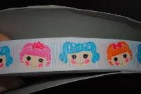 LalaLoopsy Button Eye Girl Dolls Grosgrain Ribbon Print 5 yards $7.75