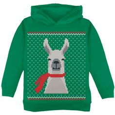 Ugly Christmas Sweater Big Llama Green Toddler Hoodie | AnimalWorld.com