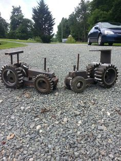 Tractors built out of gears and scrap metal.