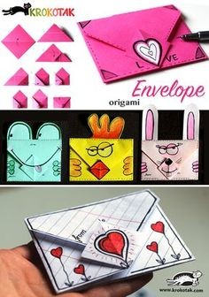 How to make and oaigami envelope! Perfect for Velantines Day origami - Simple DIY Crafts Diy Origami, Origami Paper, Diy Paper, Oragami, Origami Ideas, Origami Folding, Paper Folding, Envelope Origami, Diy Envelope