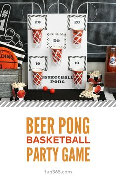 Celebrate March Madness with a game of friendly beer pong basketball. - Celebrate March Madness with a game of friendly beer pong basketball. Make your own DIY party game - Basketball Party, Diy Party Games, Party Themes, Party Games Group, Craft Party, Ideas Party, Beer Olympics Party, Beer Party Decorations, Drinking Games For Parties