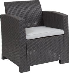 Shop a great selection of Flash Furniture Dark Gray Faux Rattan Chair All-Weather Light Gray Cushion. Find new offer and Similar products for Flash Furniture Dark Gray Faux Rattan Chair All-Weather Light Gray Cushion. Rattan Outdoor Chairs, Outdoor Armchair, Patio Chair Cushions, Grey Cushions, Outdoor Seating, Foam Cushions, Metal Chairs, Adirondack Chairs, Contemporary Outdoor Chairs