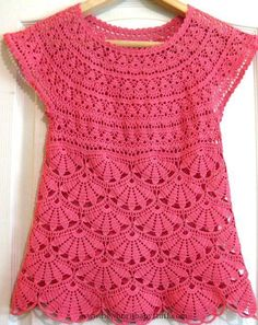 Crochet Baby Dress Yet another top I want to create if only I could read diagra...