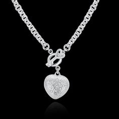 N022 Hot Sale Fashion Silver Plated T/O Clasp Heart Pendant Necklace,Fashion Silver 925 Jewelry Necklace For Women