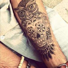 Owl And Sugar Skull Tattoos On Forearm For Men