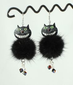 Cats earrings cheshire cats earrings black mink fur by nymphea44
