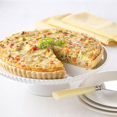 Chicken quiche baked in a tart pan, this hearty dish is an excellent choice for a weekend brunch. Easter Recipes, Egg Recipes, Brunch Recipes, Chicken Recipes, Dinner Recipes, Diabetic Recipes, Land O Lakes Recipes, Chicken Rice, Tart Recipes