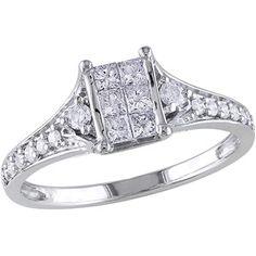 1/2 Carat T.W. Princess-Cut Diamond Engagement Ring in 10kt White Gold