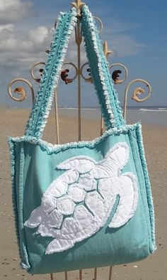 Sea Beach Bag - Sea Turtle White on Caribbean Blue
