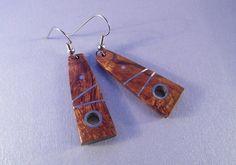Handmade Wood Jewelry ~ OAK Inlaid Desert Ironwood Earrings