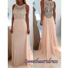 2016 cute pink chiffon long prom dress with sequins top, occasion dress for teens, modest prom dress