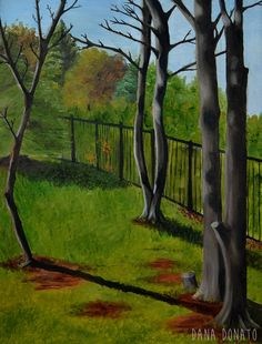 Daytime tree landscape oil paintings, 24 x 18, oil on canvas. Original art, ready to hang.