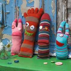 Looks like an easy thing to make from old socks. Just stuff and use your imagination.
