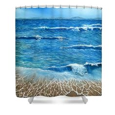 Shower Curtain,  bathroom,accessories,unique,fancy,cool,trendy,artistic,awesome,beautiful,modern,home,decor,design,for,sale,unusual,items,products,ideas,blue,coastal,sea,waves,beach