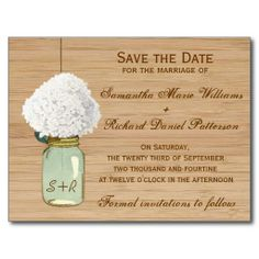 Country Rustic Mason Jar Hydrangea Save the Date Post Card