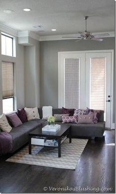 gray and purple living rooms ideas | Grey & Purple Modern Living ...