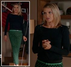 849f0e01a2 Jane s green printed pants and black shoulder button top on Happy Endings