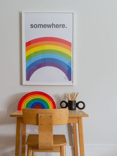 On a budget hunt out some vintage kids furniture and contrast with the bright colour pop of rainbow wall art and wooden toys. Rainbow Bedroom, Rainbow Wall, Rainbow Print, Rainbow Room Kids, Rainbow Nursery, Study Table And Chair, Kids Study, Big Girl Rooms, Boy Rooms