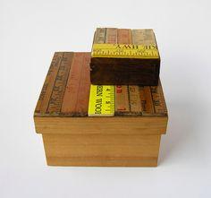 Vintage Yardstick Covered Wood Boxes