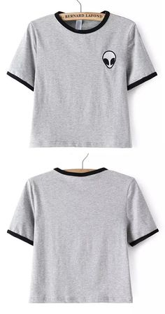 Grey Crew Neck Alien Print Crop T-Shirt