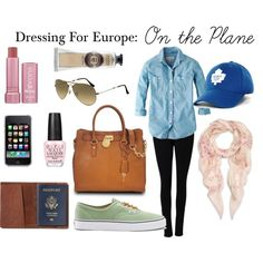 Dressing for Europe: On the Plane travel outfit - Hand and Lip Moisturizer to keep hydrated. Slip on shoes and no jewelery to cut down on time going through security. Sun glasses and base ball cap to hide tired eyes. Scarf to keep warm on the plane.