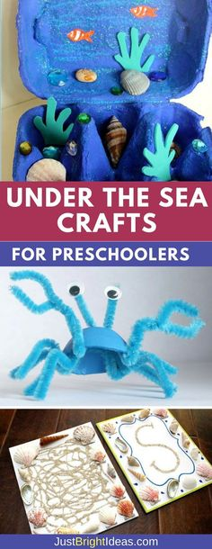 From ocean sensory bottles to the most adorable egg box crab your kids will love learning about the ocean with these easy under the sea crafts fro preschoolers! box 10 Under the Sea Crafts for Preschoolers Arts And Crafts For Adults, Easy Arts And Crafts, Craft Projects For Kids, Arts And Crafts Projects, Wood Crafts, Arts And Crafts Movement, Egg Box Craft, Crab Crafts, Under The Sea Crafts