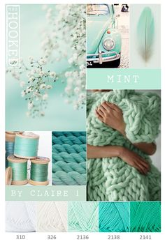 Colour, pattern, design and textile inspiration- moodboard Yarn Color Combinations, Colour Schemes, Color Patterns, Mint Color Palettes, Colour Board, Yarn Colors, Color Pallets, Color Theory, Color Inspiration