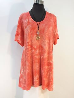 e635929310b Plus size 3X coral tie dye top with scoop neck and short sleeves in bamboo  blend fabric