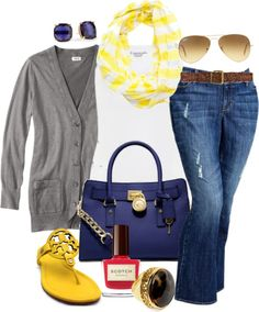 Navy  Yellow - Plus Size
