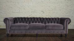 Cococo. Grey velvet. 3 cushions. Brass nailhead trim. Espresso turned legs.
