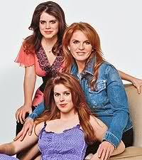 yorksisters:  Princess Beatrice and Princess Eugenie with their mother Sarah, Duchess of York