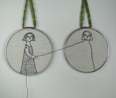 How cool is this, what a great sense of humour! Embroidery wall art