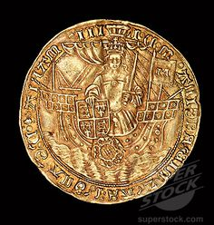 """Rare English Coin, Gold Ryal, Queen Mary (Bloody Mary) in ship with sword and shield, 1553-1554"""