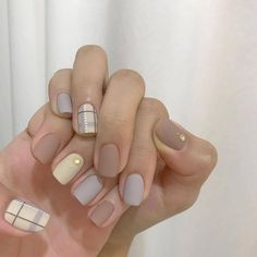 The Most Beautiful and Glamorous Acrylic Nail Art Designs in Summer nails Nude Nails, Pink Nails, My Nails, Matte Nails, Blue Nail, Korean Nail Art, Korean Nails, Asian Nail Art, Minimalist Nails