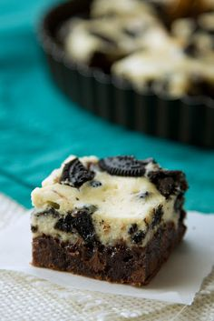 Decadent brownies topped with a thick layer of cookies & cream cheesecake. It doesn't get any better!